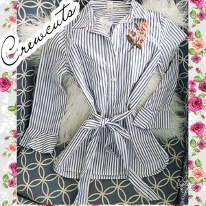 Crewcuts 7 button stripe flower beach top shirt